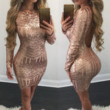 Ladies open back gold sequins bodycon dress