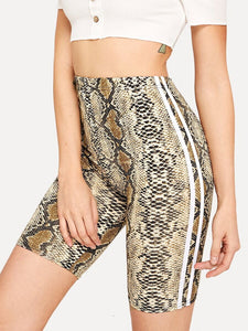 Side stripe animal print biker shorts