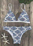 Triangle printed 2 piece bikini swimsuit