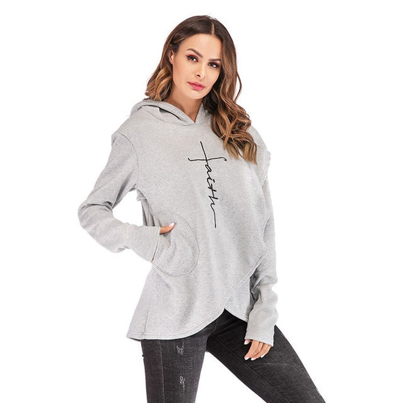 Trendy faith print hoodie pullover sweater top