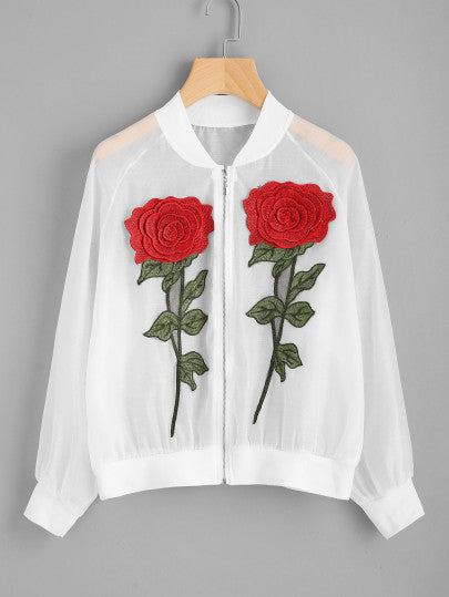 Rose embroidery design sheer retro jacket