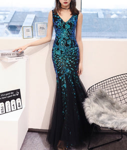 """Sofia"" PEACOCK SEQUINS ELEGANT MERMAID TULLE FORMAL EVENING DRESS"