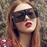 """ Midnight"" Flat top oversize retro sunglasses"