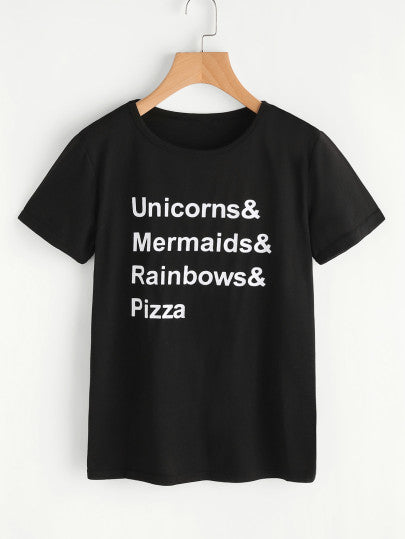 Unicorn mermaids rainbows pizza printed tshirt