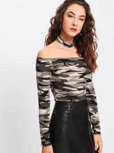 Camo choker fashion top