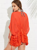 Ruffle bikini swimsuit cover up