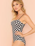 """Racing babe"" Checkered bodysuit top"