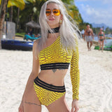 """Run the world"" luxury choker one shoulder 2 piece bikini swimsuit set"