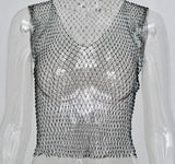 Festive Sheer mesh fishnet diamond rhinestone detail crop top