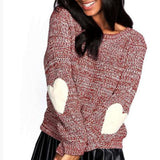 Heart elbow patch knitted pullover sweater