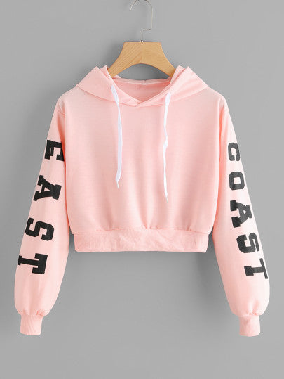 East Coast Text crop hoodie sweater