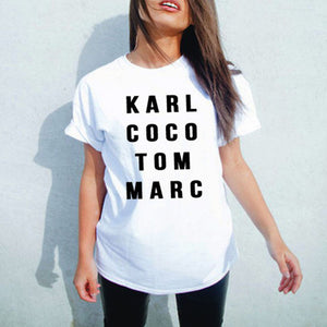 Karl coco tom Marc printed tshirt - Iconic Trendz Boutique