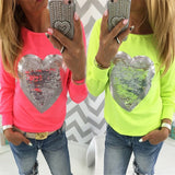 Heart sequined design fashion sweater top
