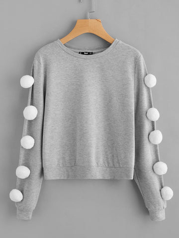 3D Pom Pom sleeve pullover sweater