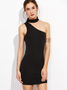 Black Classic choker bodycon dress