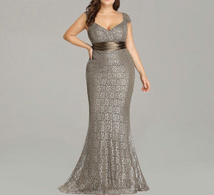 Plus size Elegant glitter lace detail mermaid prom dance party gown dress