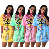 Ladies graffiti comic pink panther oversize tshirt dress