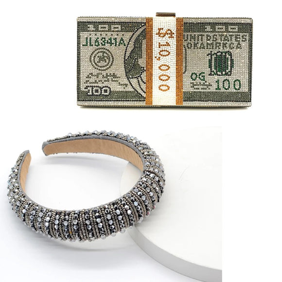 Luxury rhinestone money bling chain clutch handbag w headband