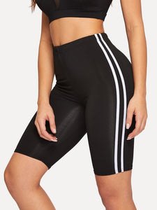 Side stripe biker shorts