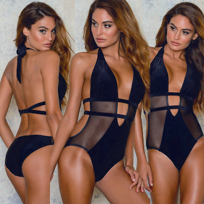 Black Sheer panel monokini one piece bikini