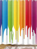 Dripping color paint shower curtain with 12 hooks