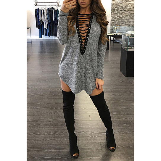 Ladies long sleeve lace up front blouse - Iconic Trendz Boutique