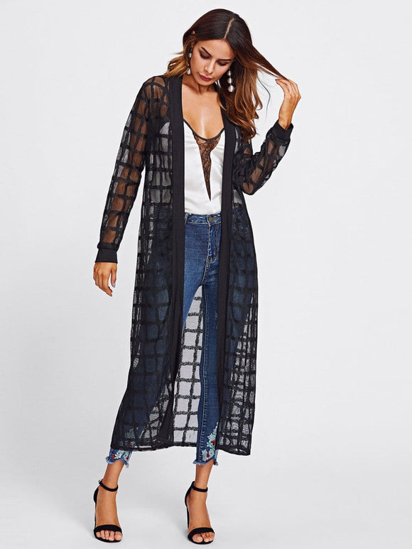 Sheer plaid long cover up kimono jacket