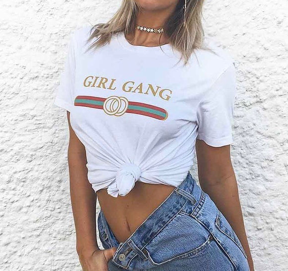 Girl gang retro fit fashion tshirt - Iconic Trendz Boutique