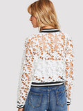 Sheer Lace detail bomber jacket
