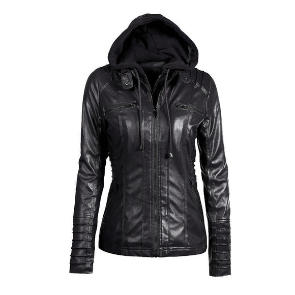 """Motorsport""  Women Leather Style Hoodie Motorcycle Jacket"