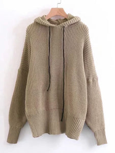 Ladies Oversize knitted hoodie sweater