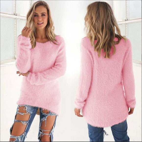 Comfy fuzzy long pullover sweater