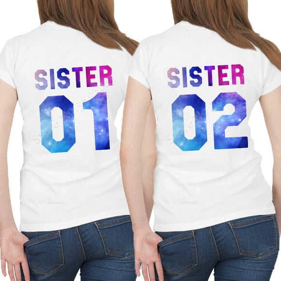 Sister best friend BFF number style  matching tshirt
