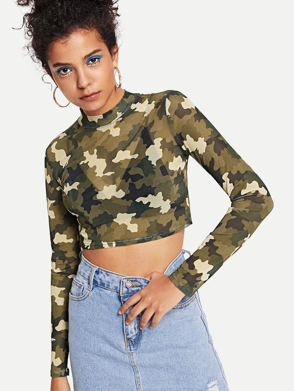 Camo sheer long sleeve top