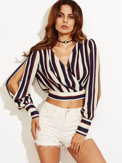 Stripe accent split sleeve crop shirt