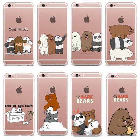 Funny we bare bears clear iPhone phone case
