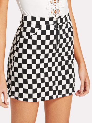 Checkered mini fashion skirt