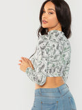3d Money printed long sleeve mock neck crop top