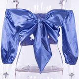 Satin bow tie crop top