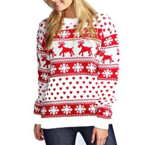 Pullover knitted reindeer Christmas Xmas fashion sweater
