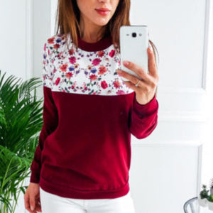 Floral detail long sleeve sweater top
