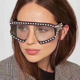 """Vogue"" Oversized pearl shield luxury sunglasses"