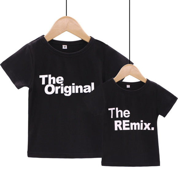 The original the remix matching Mom dad baby family tshirt