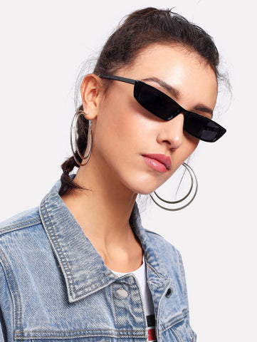 Hipster Black retro 80s small frame sunglasses