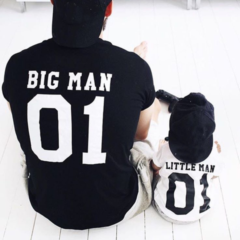 Big man little man matching father and son tshirt