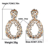 Luxury rhinestone crystal statement square drop earrings