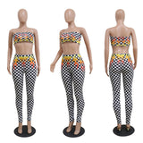Checkered fire flame 2 piece crop top pants set
