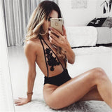 Floral sheer one piece halter bikini swimwear