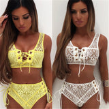 Lace style lace up high waist 2 piece bikini swimsuit