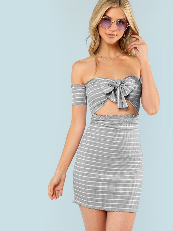 Off the shoulder bow tie bodycon dress